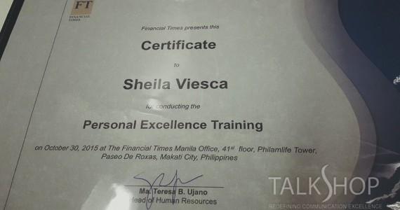 PERSONAL EXCELLENCE TRAINING – 30 Oct 2015