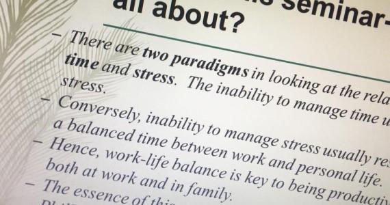 TIME AND STRESS MANAGEMENT WORKSHOP – 19-20 NOV 2015
