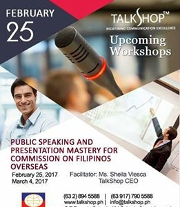 PUBLIC SPEAKING AND PRESENTATION MASTERY – 25 FEB 2017
