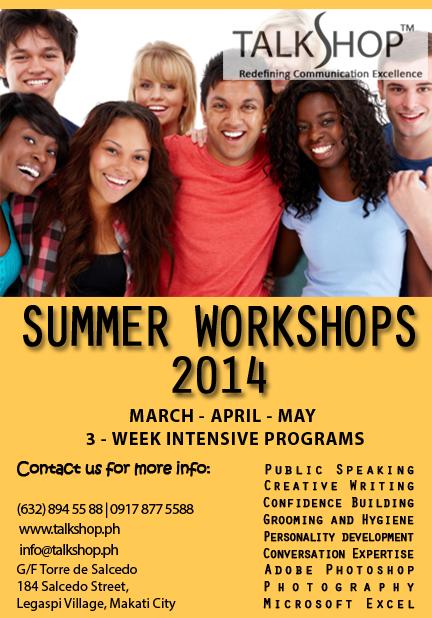 TalkShop Summer Workshops 2014